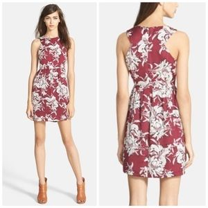 Glamorous burgundy cream floral fit & flare dress